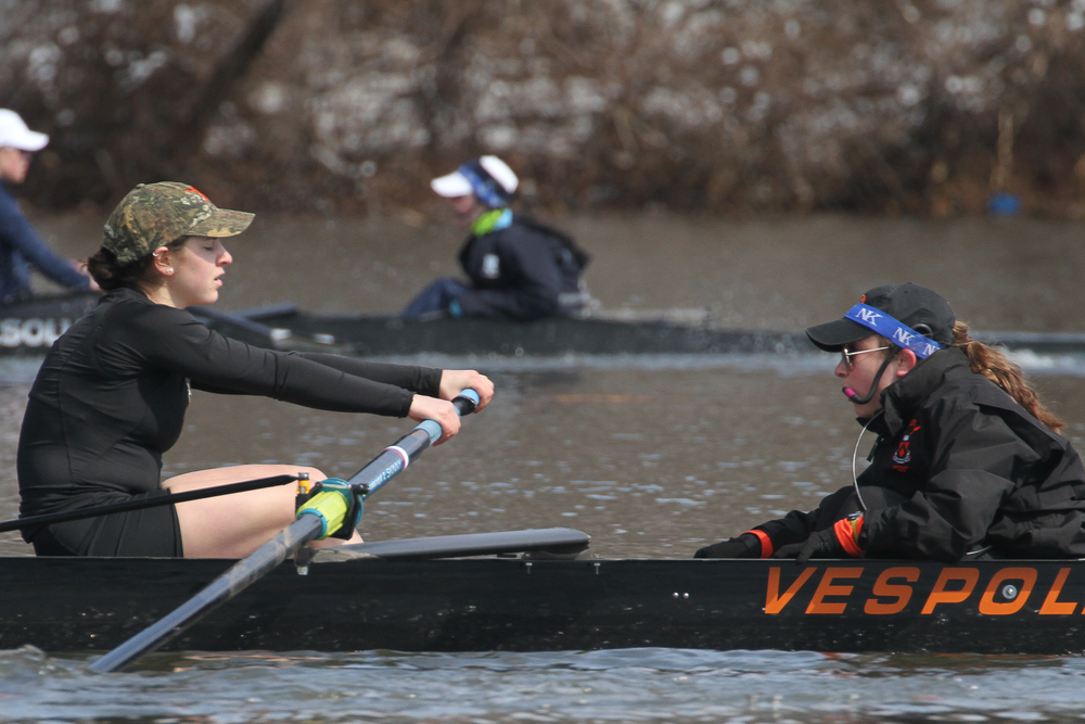 Megan Mirabella '18 coxes stroke Juliette Hackett '17 and the first varsity boat