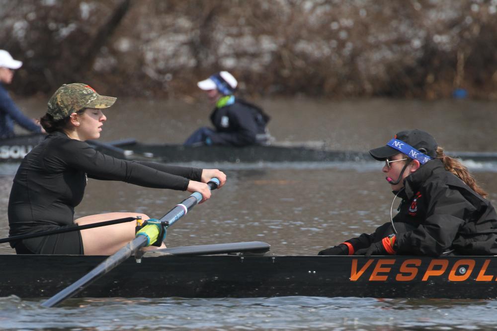 Megan Mirabella '18 coxes stroke Juliette Hackett '17 and the first varsity boat