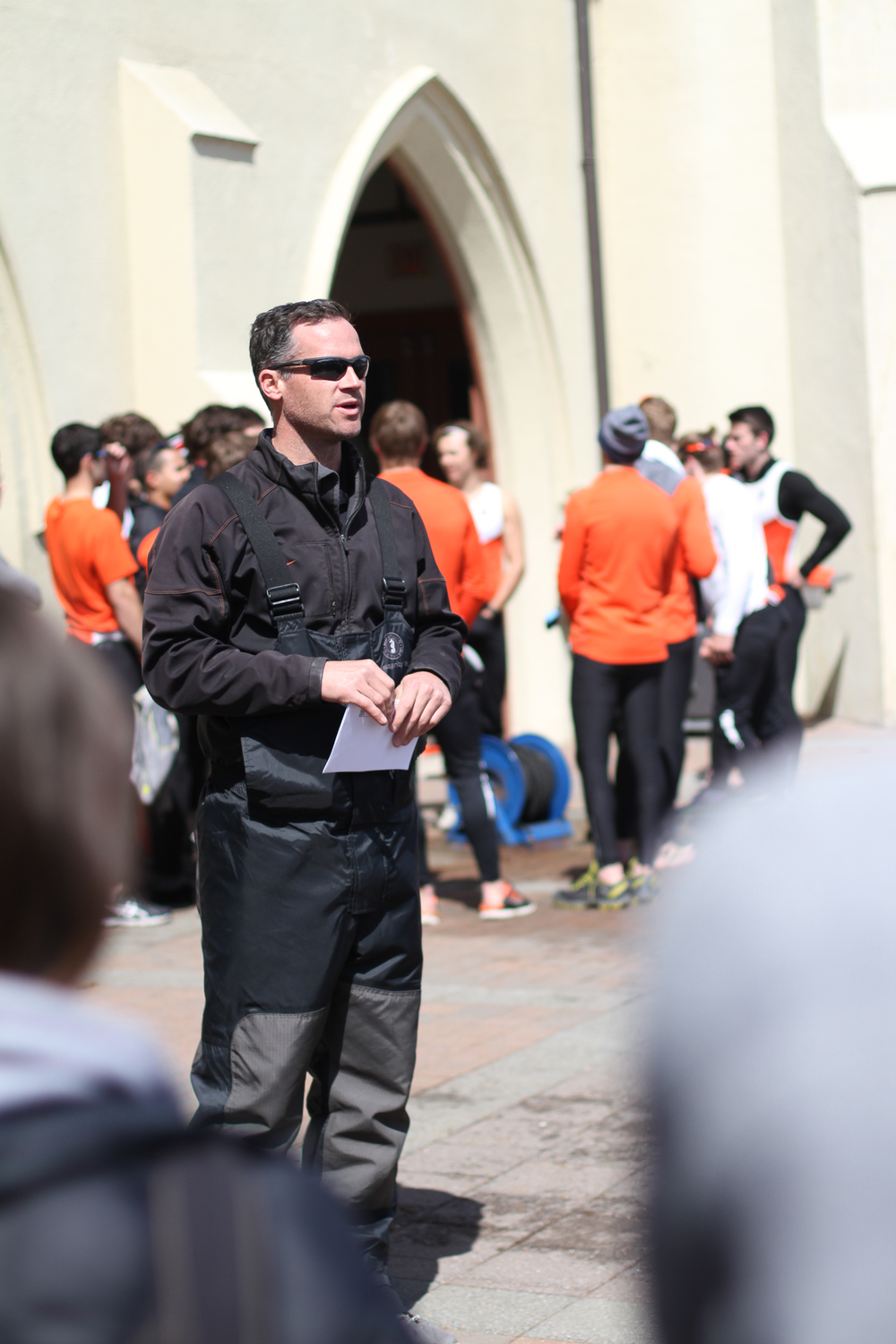 Princeton lightweight men's head coach Marty Crotty '98 addresses both teams after the racing