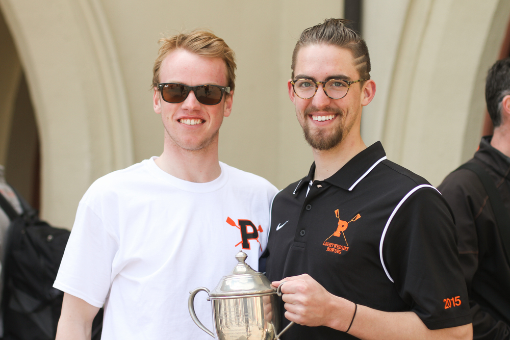 Cam Howie '16 and captain Casey Ward '15 pose with the Fosburgh Cup
