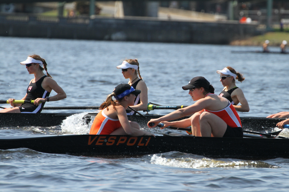 Megan Mirabella '18 coxes the Lightweight Women's 1V in their race against Radcliffe