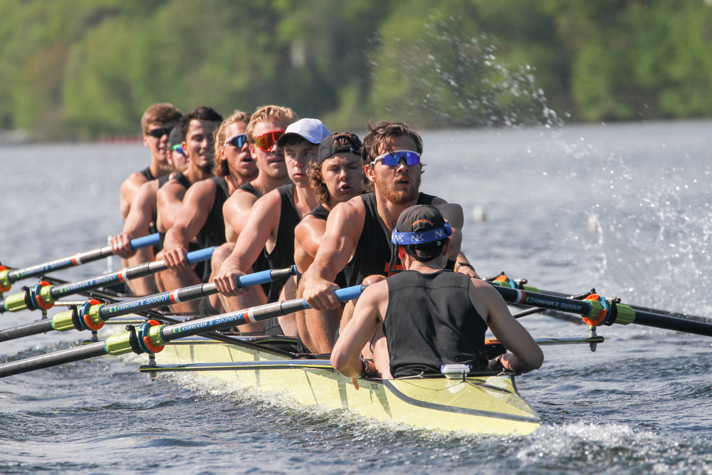 The heavyweight men's 1V races in the heats at Eastern Sprints