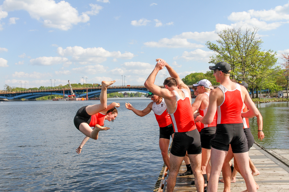Heavy 2V coxswain Jill Barton '16 gets some air