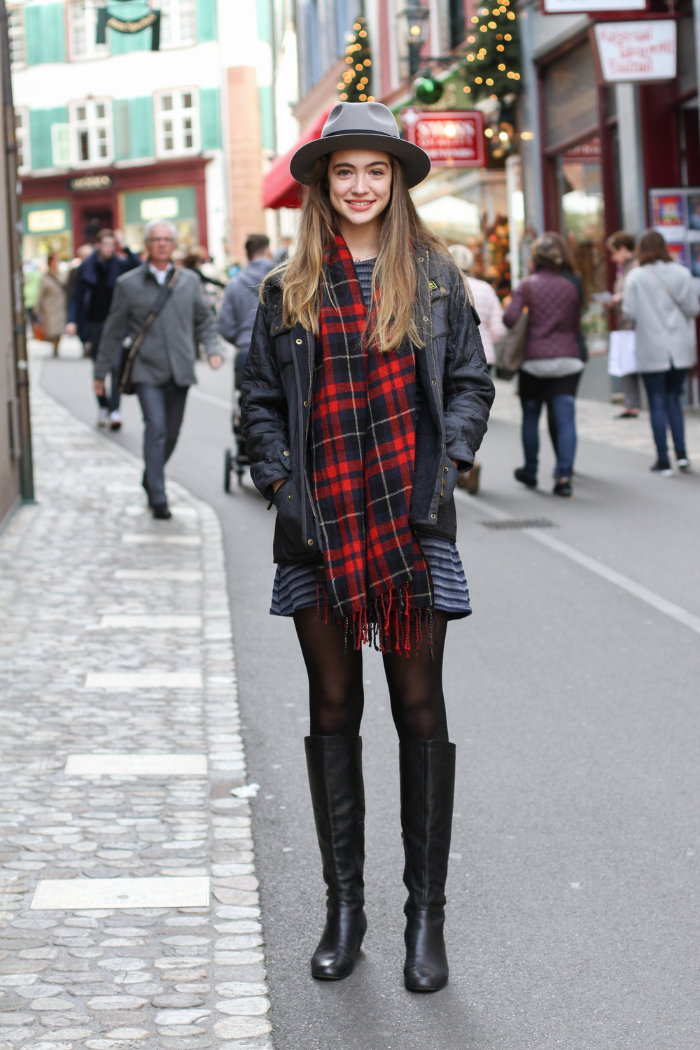 Scarf: Madewell/Dress: urban outfitters/Jacket: Barbour