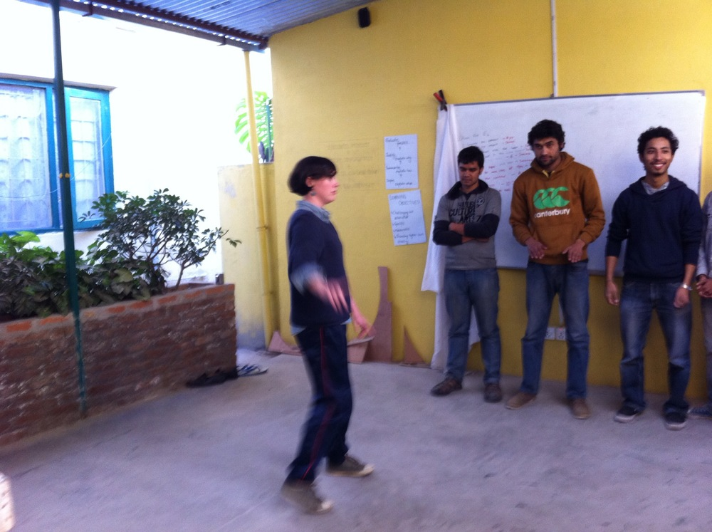 Teaching a workshop in Kathmandu.                 Photo by Meredith Degyansky