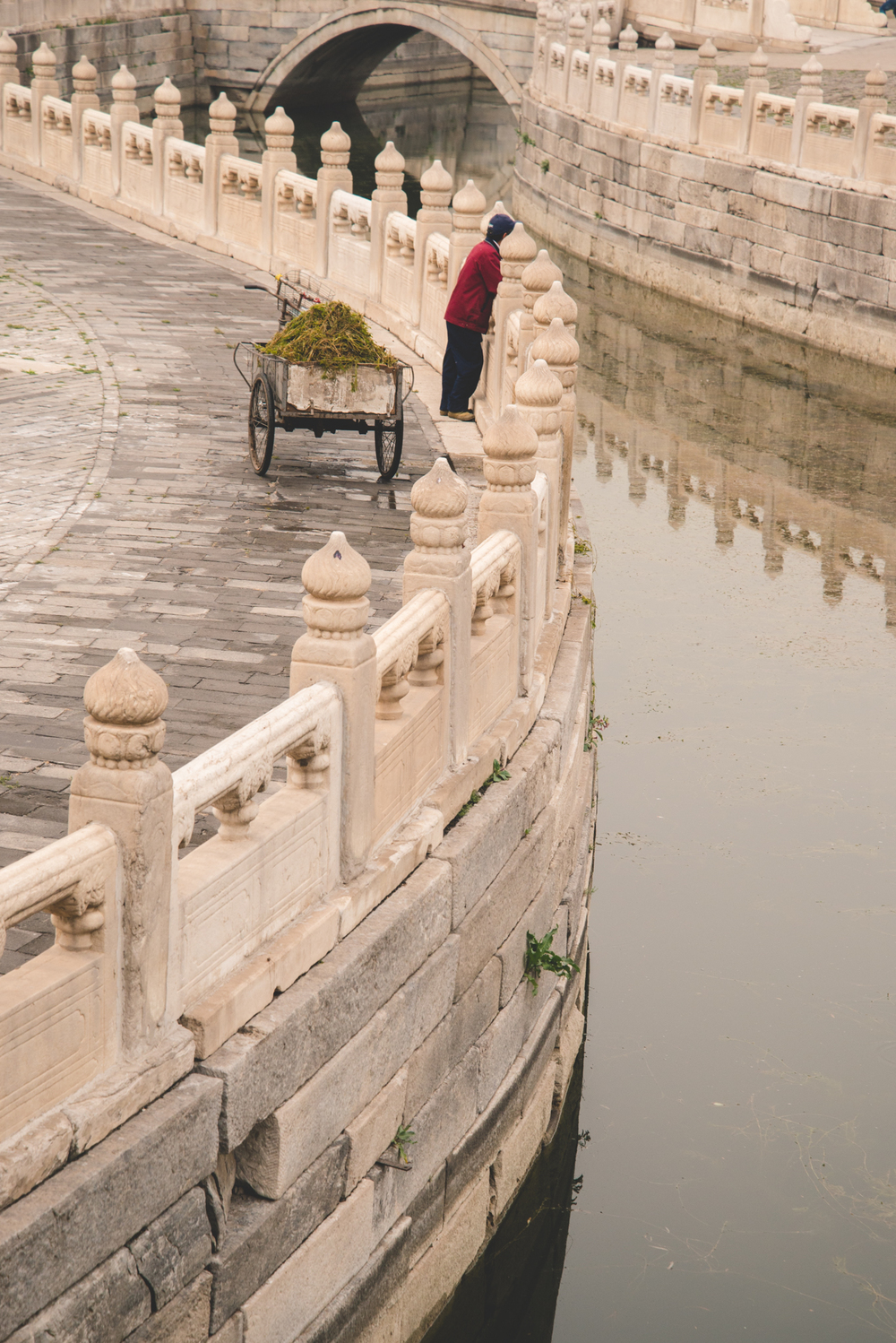 Forbidden City, Beijing  A man is cleaning the waters by scooping up the weeds and leaves with a net onto his cart.