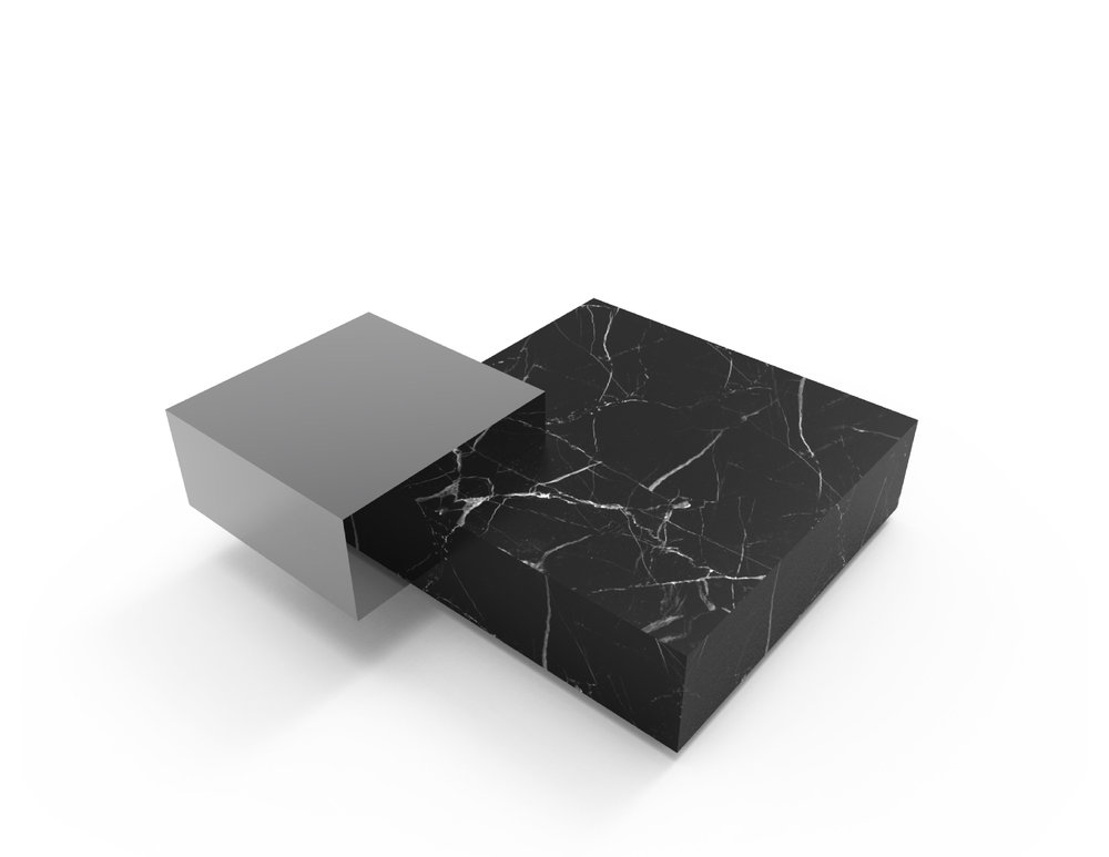 GRAVITY Table series in marble and polished stainless steel - Chiara Ferrari x Graye