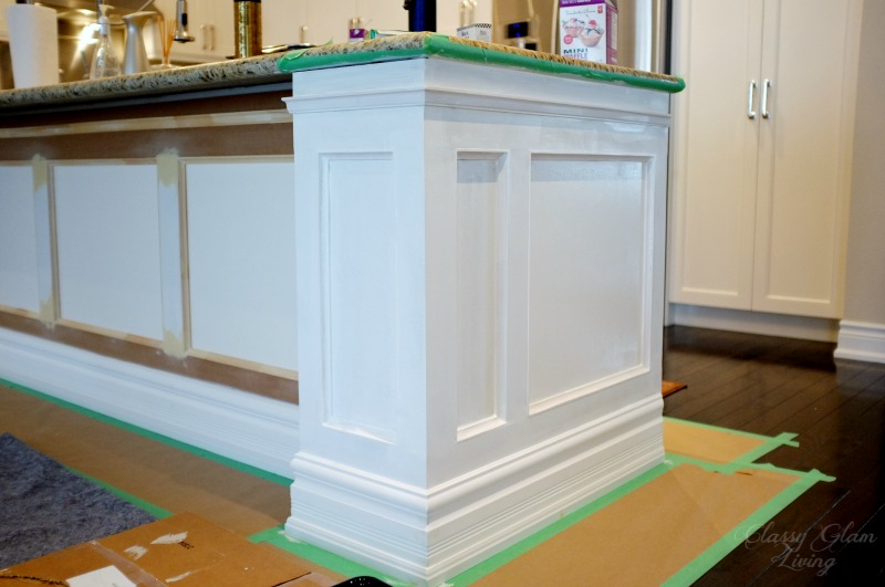 wainscoting on kitchen island diy kitchen island makeover glam living 6927