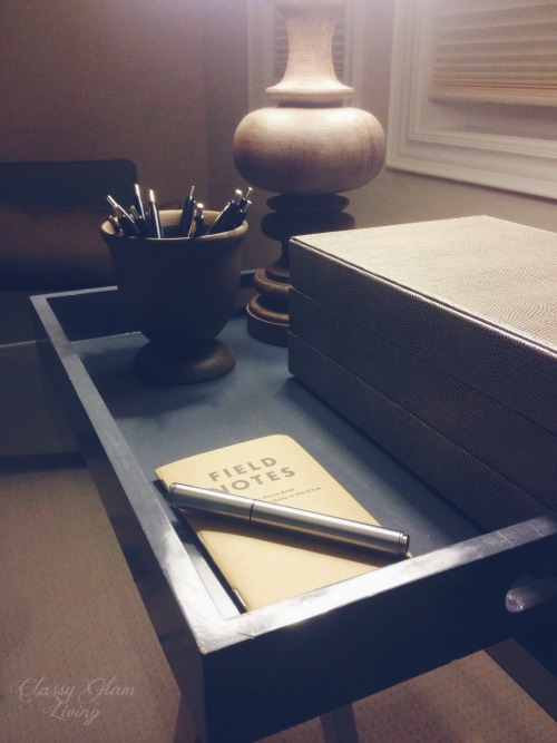 Field Notes Tray Office Vignette | Classy Glam Living