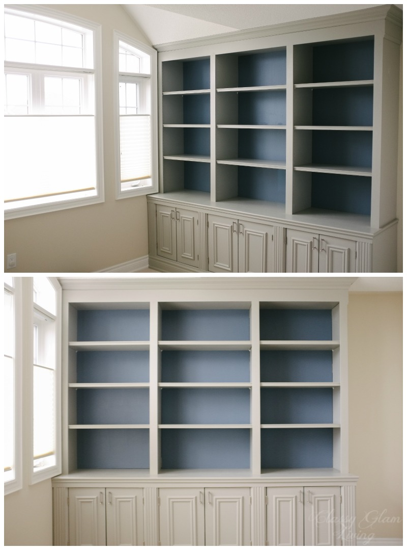 Grey And Blue Combination | DIY Built In Office Cabinet | Classy Glam Living