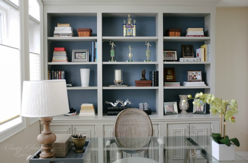 Beautiful Front View | DIY Built In Office Cabinet | Classy Glam Living