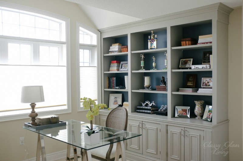Nice Complete Side View | DIY Built In Office Cabinet | Classy Glam Living