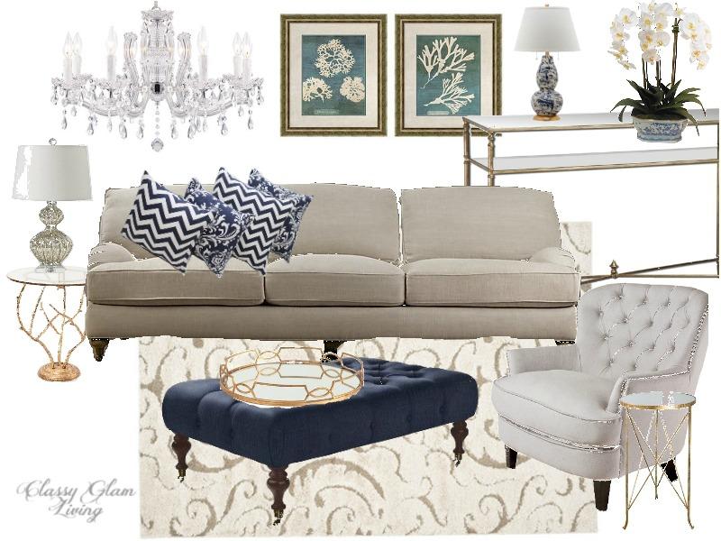 Color trend black white gold vs navy white gold classy glam living for Navy blue white and gold living room