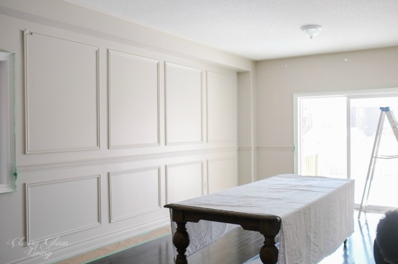 DIY Wainscoting & Chair Rail Installation | Painted in Benjamin Moore Inukshuk | Classy Glam Living