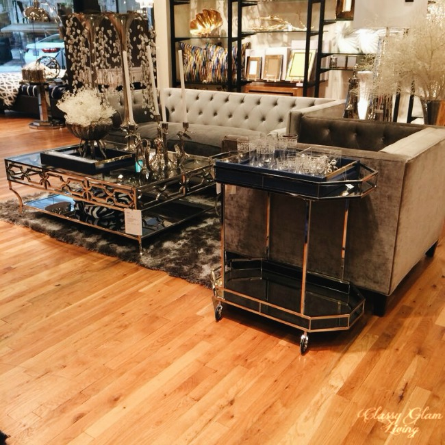 Z Galleries Chrome coffee table and bar cart | Classy Glam Living