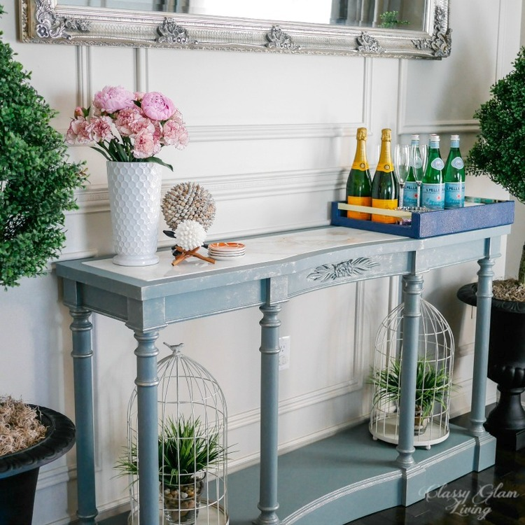 painted french blue console table — classy glam living