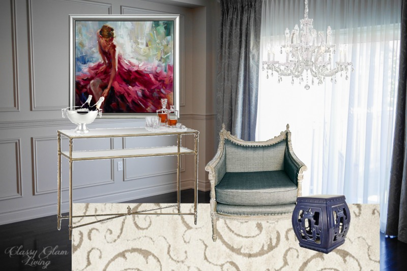 Living Room Bar Area Design Board | Classy Glam Living