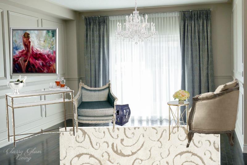 Living Room Design Board | Classy Glam Living