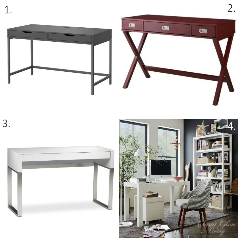 Sources:  1.  IKEA Alex desk ; 2. Target  Threshold Campaign desk ; 3. Wayfair  Cascadia Laptop desk ; 4. West Elm  Parsons desk