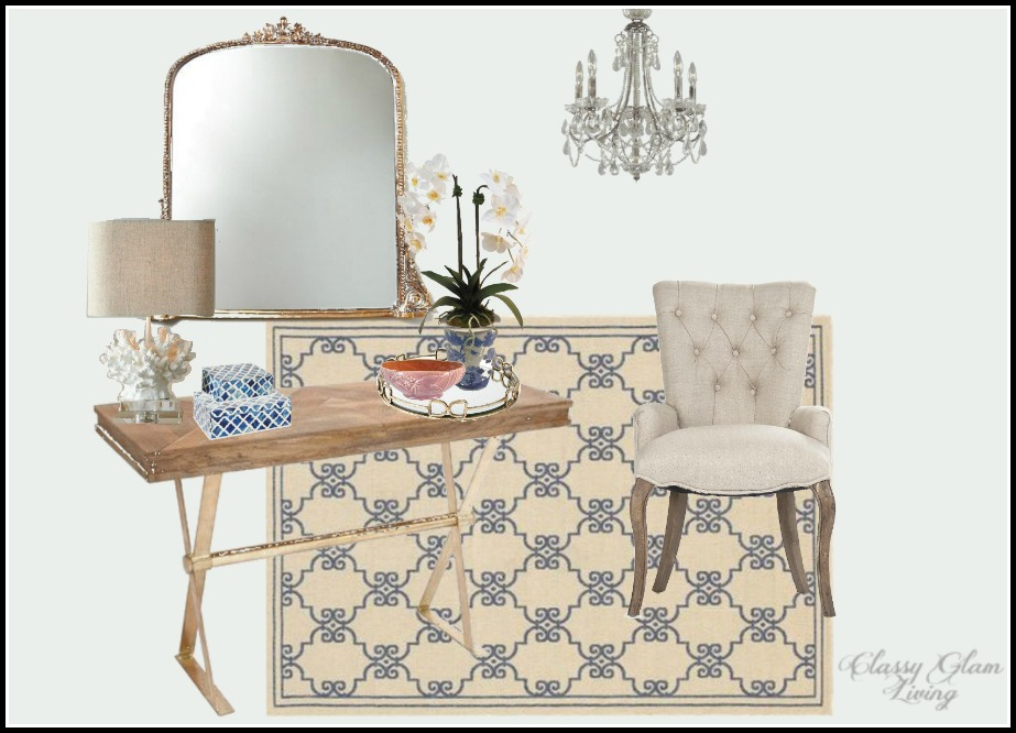 Entryway Design Board  |  Classy Glam Living;  Lamp    Horchow ;  blue and white boxes,     m    irror tray,  faux orchid arrangement, rose compote      |  One Kings Lane.