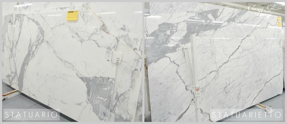 Kitchen Countertops - Marble and Look-alike Alternatives | Statuario vs. Statuarietto Marble | Classy Glam Living