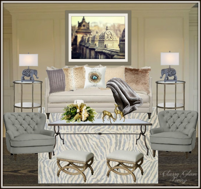 NEW HOUSE LIVING ROOM DESIGN BOARD | CLASSY GLAM LIVING