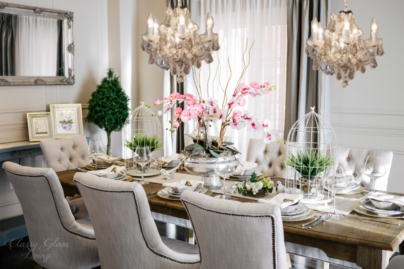 Design inspirations for our new dining room classy glam living dining room with 2 chandeliers classy glam living aloadofball Images