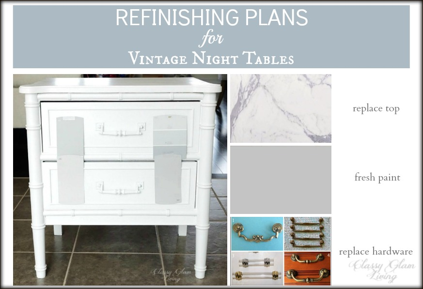 BEDSIDE NIGHT TABLES REFINISH DIY | CLASSY GLAM LIVING