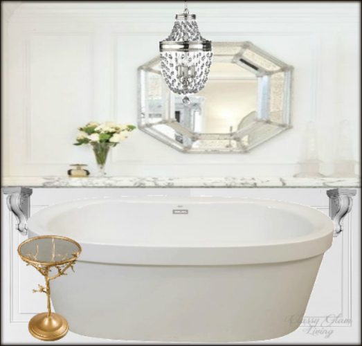New House Master Ensuite |   Tub Feature Wall Design | Classy Glam Living |   Marble ledge image  ( VIA );  Tub  Home Depot ; Chandelier  feiss ; side table Joss & Main; Corbels  home depot .