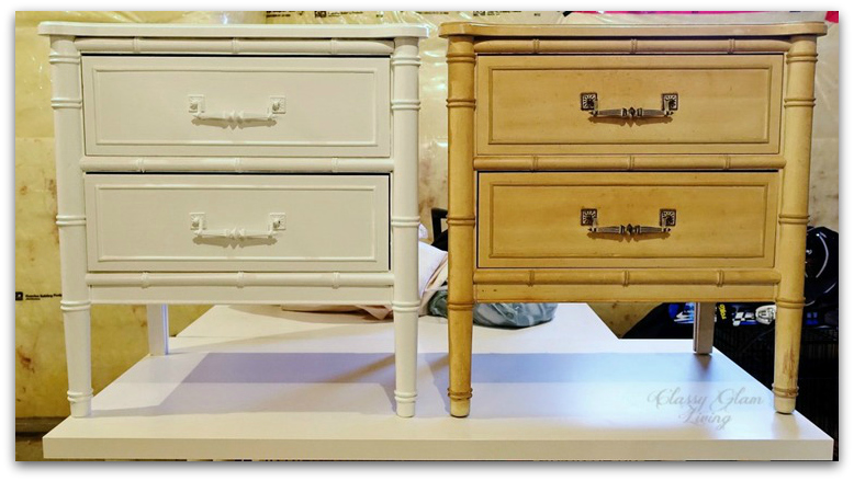 PAIR OF HENRY LINK BALI HAI BEDSIDE TABLES | CLASSY GLAM LIVING | DIY REFINISH