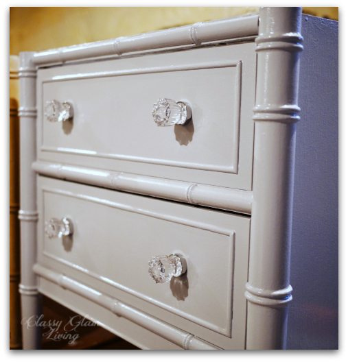 DIY Refinishing Vintage Bedside Tables WITH Glass Knobs Installed | Classy Glam Living