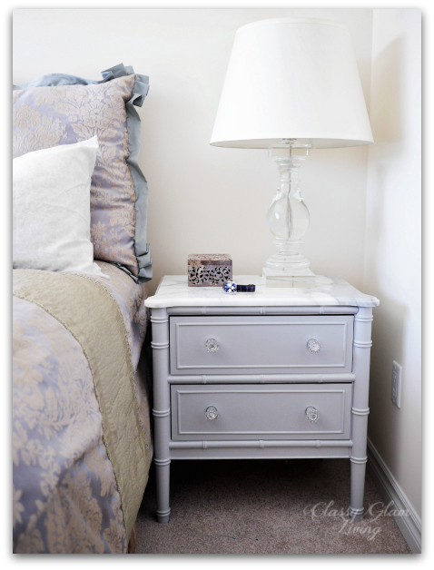 DIY Refinishing Vintage Bedside Tables Finished Look with Statuario Marble Top | Classy Glam Living
