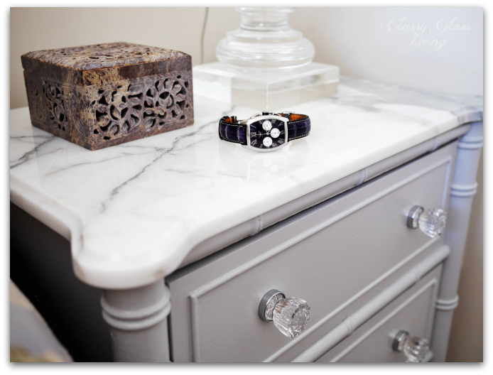 DIY Refinishing Vintage Bedside Tables | Closeup with Statuario Marble Top | Classy Glam Living