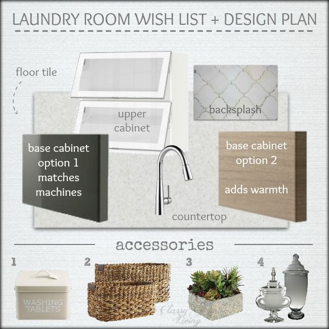 Laundry room design board & accessories | Classy Glam Living