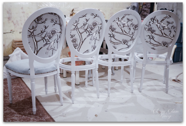 Upholstered backs of chairs