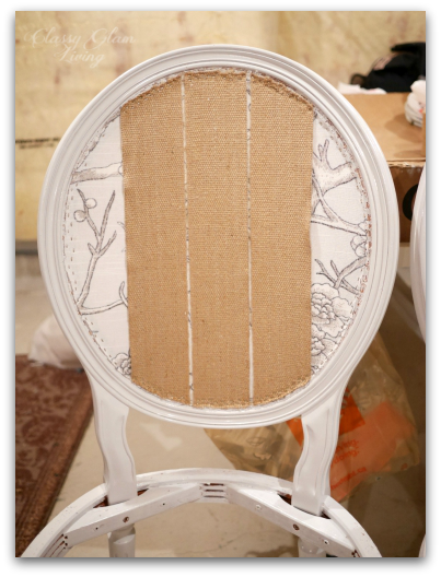 Webbing on back of chair | DIY Reupholstering chairs | Classy Glam Living