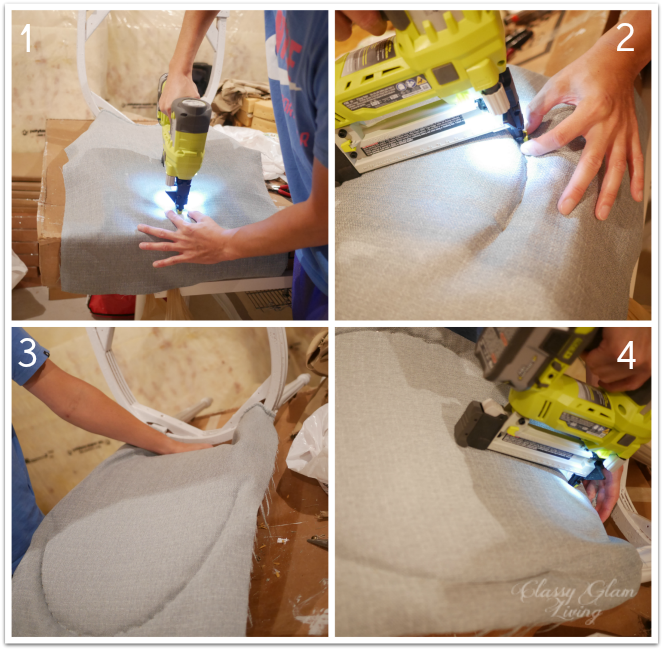 Attaching fabric to back of chair | DIY Reupholstering french chairs | Classy Glam Living