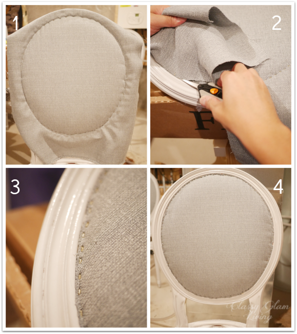 Trim excess fabric around the back of chair | DIY Reupholstering chair | Classy Glam Living