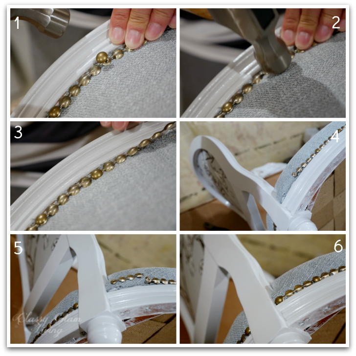 Attaching tacks trim | DIY Reupholstering french chairs | Classy Glam Living