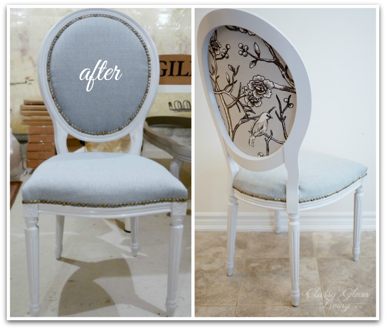 DIY Reupholstering French chairs tutorial | Classy Glam Living