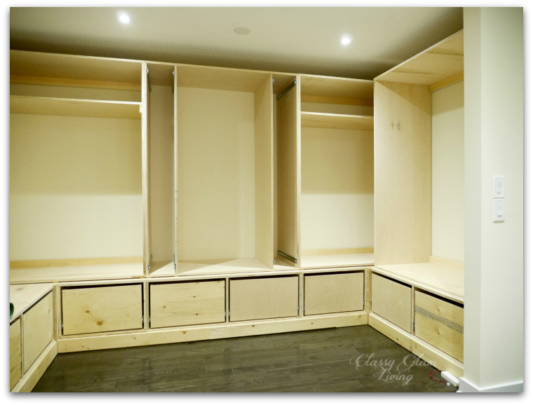DIY dressing room walk-in closet progress shot | Classy Glam Living