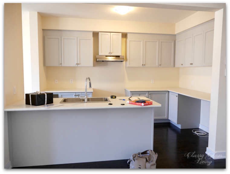 Photo taken on the day we closed the house before any appliances were delivered. & New Kitchen Update - Integrated Hood + Upper Cabinets u2014 Classy Glam ...