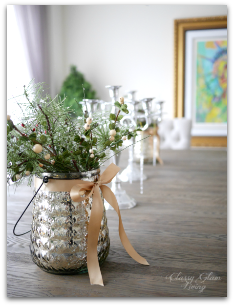 2015 Christmas Dining Table Decor | Candelebra DIY faux greeneries | Classy Glam Living