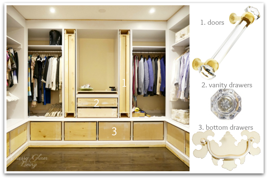 DIY Custom Closet Dressing Room Update | Classy Glam Living | Cabinet hardware