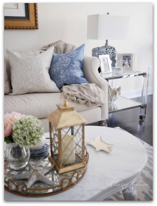 Coffee table styling acrylic end tables | Living room reveal + styling tips | Classy Glam Living