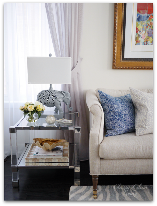 Acrylic end tables styling | Living room reveal + styling tips | Classy Glam Living