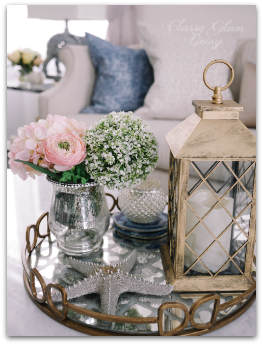 Coffee table styling with mirror tray | Living room reveal + styling tips | Classy Glam Living