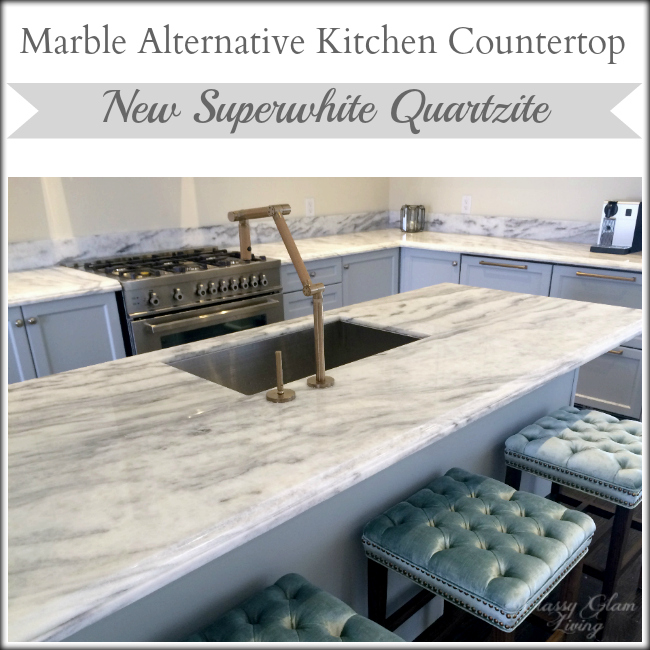 New Superwhite Quartzite Kitchen Countertop Marble Alternative Classy Glam  Living