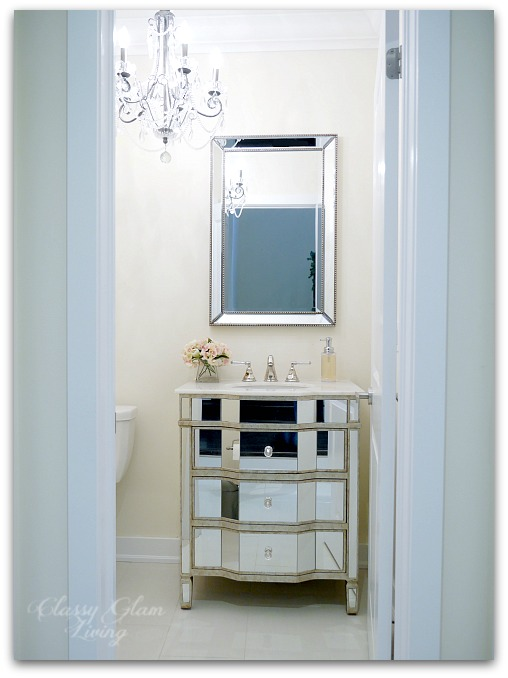 Powder room update | Mirrored vanity cabinet | Classy Glam Living