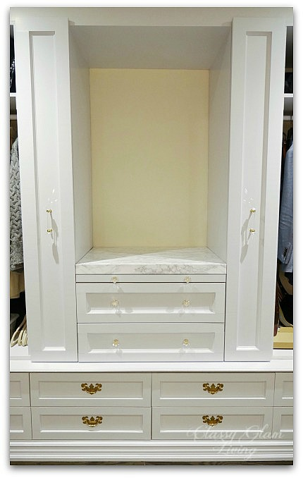 DIY Custom Dressing Room | Installed vanity drawer fronts with marble top | Classy Glam Living